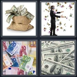 dollar bills in bag, blindfolded man reaching for money, pile of euro bills, stack of hundred dollar bills