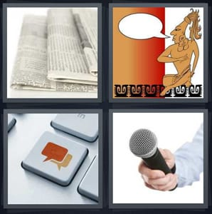 4 Pics 1 Word Answers for Newspaper, Speak, Message, Microphone