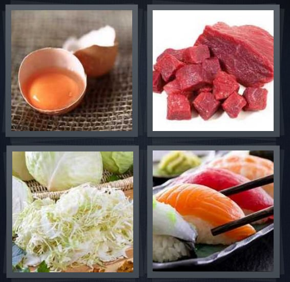Egg, Meat, Cabbage, Sushi