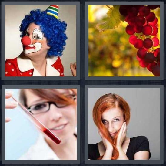 Clown, Grapes, Blood, Woman
