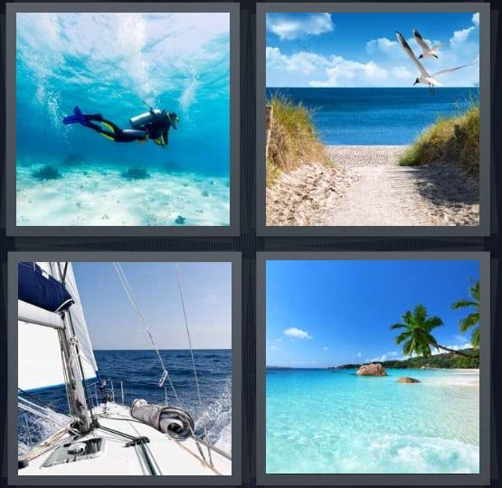 Diver, Beach, Yacht, Island
