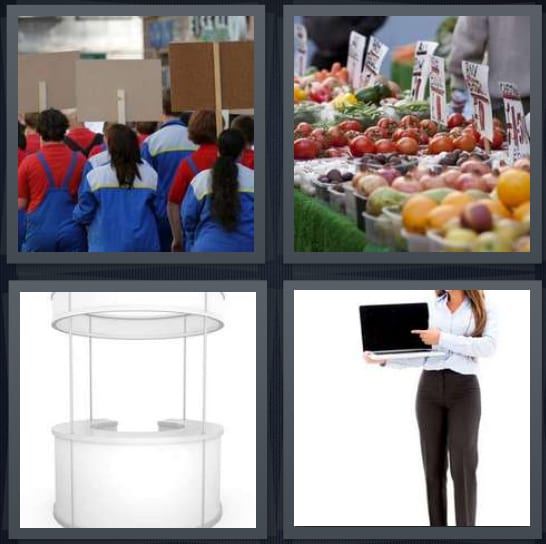 4 Pics 1 Word Answer for Picket, Fruit, Kiosk, Display