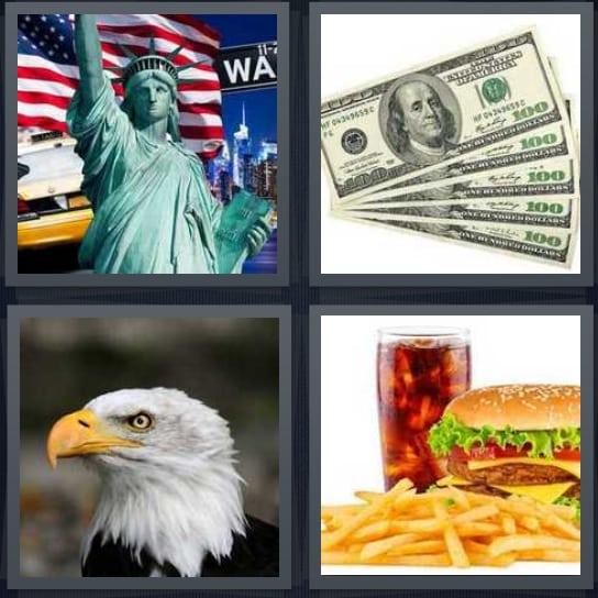 Statue of Liberty, Dollars, Eagle, Burger