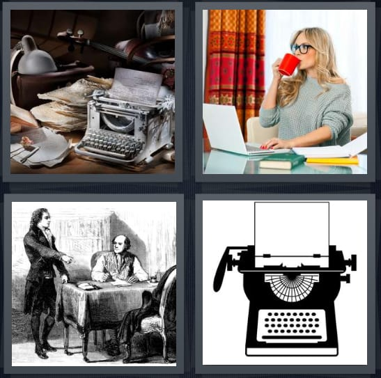 4 Pics 1 Word Answers for Papers, Author, Founders, Typewriter