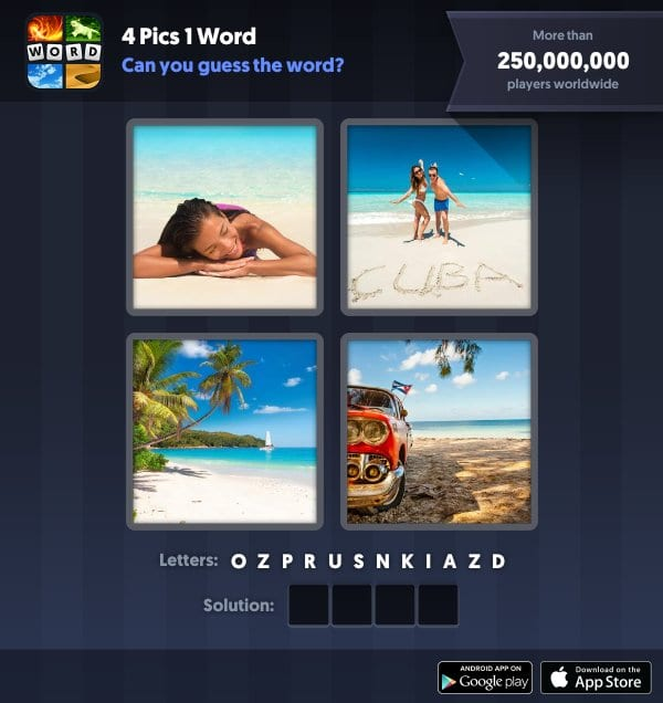 4 Pics 1 Word Daily Puzzle, November 13, 2018 Cuba Answers - sand