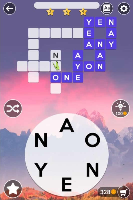 Wordscapes Daily Puzzle November 10 2018 Answers - ANY, AYE, ONE, YEN, NAN, NAY, YEA, YON, NEON, NONE, ANNOY, ANYONE
