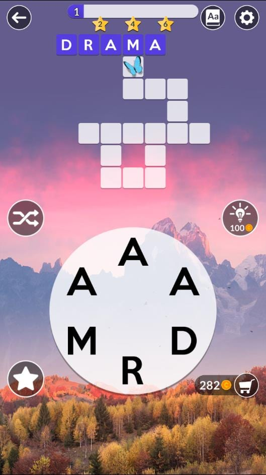 Wordscapes Daily Puzzle November 23 2018 Answers - ARM, DAM, MAD, MAR, RAM, RAD, DRAMA, ARMADA
