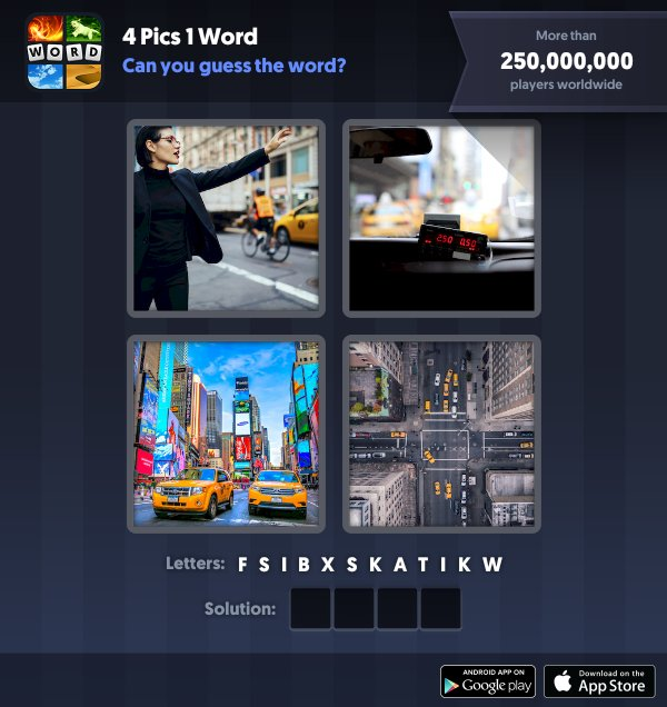 4 Pics 1 Word Daily Puzzle, January 11, 2019 New York Answers - taxi
