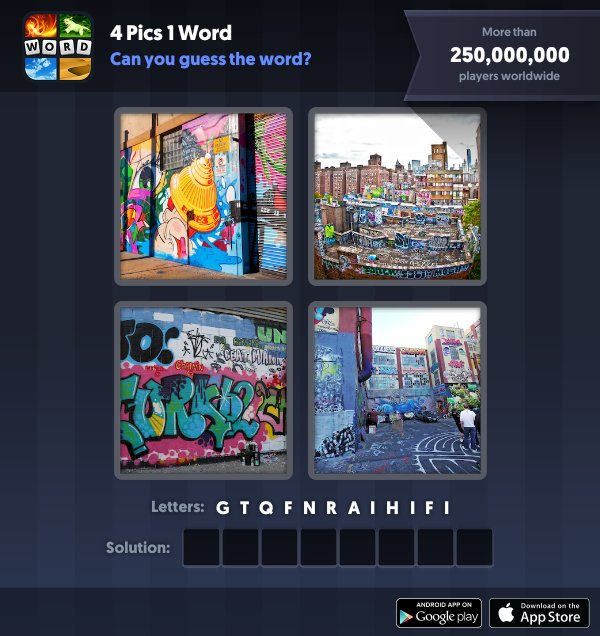 4 Pics 1 Word Daily Puzzle, January 7, 2019 New York Answers - graffiti