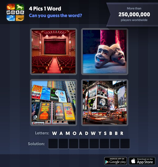 4 Pics 1 Word Daily Puzzle, January 9, 2019 New York Answers - broadway